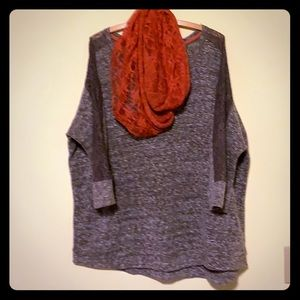 Brown 3/4 sleeve sweater w/ infinity scarf